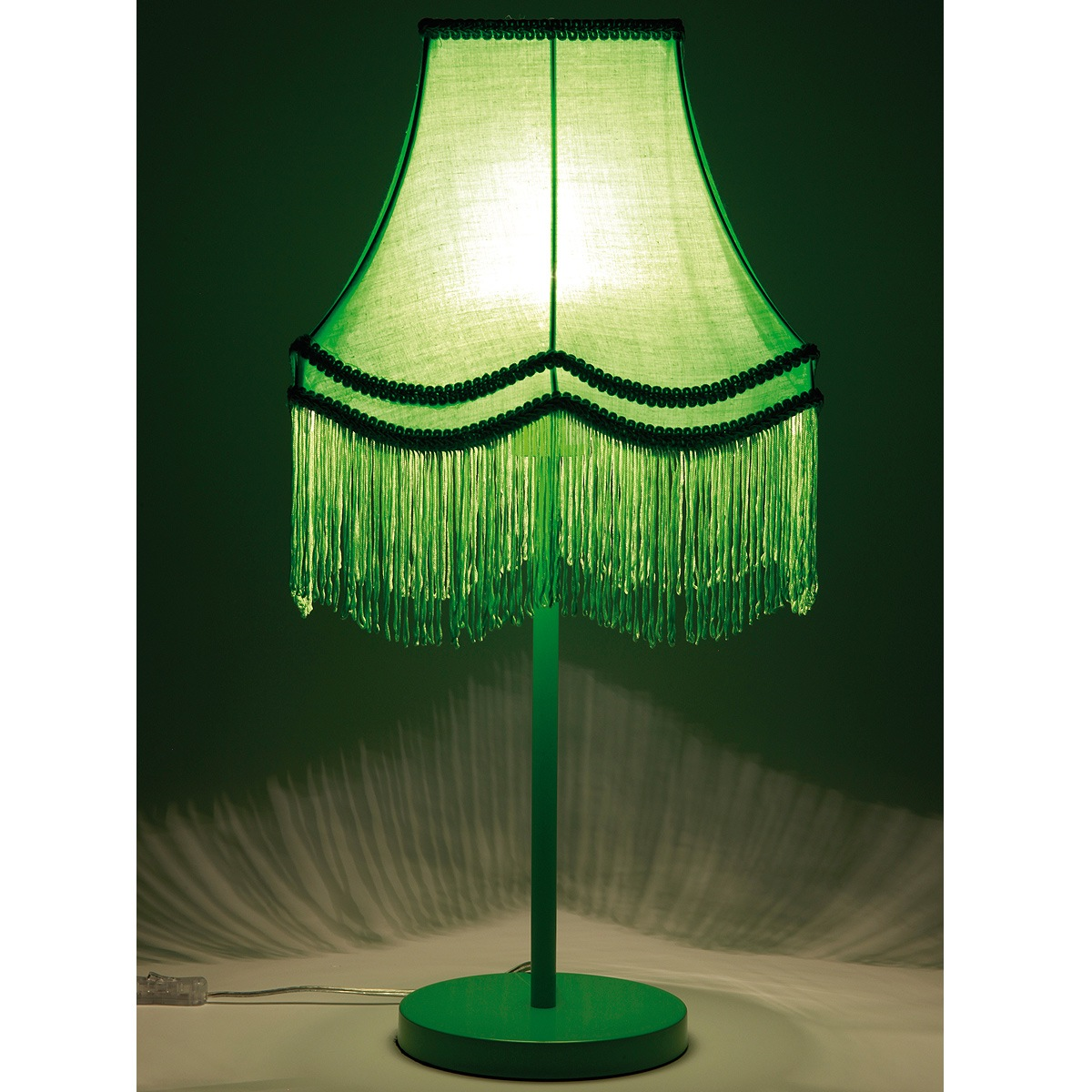 fluoro fringe lime green table lamp image 2 by the french bedroom. Black Bedroom Furniture Sets. Home Design Ideas