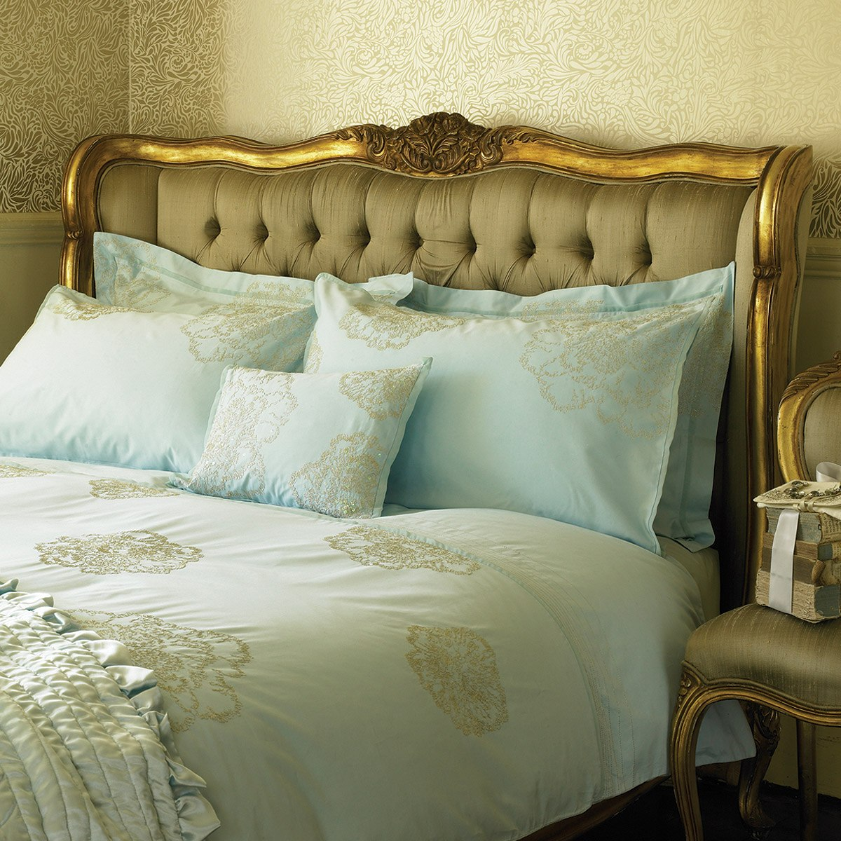 versailles gold upholstered bed french bedroom company. Black Bedroom Furniture Sets. Home Design Ideas