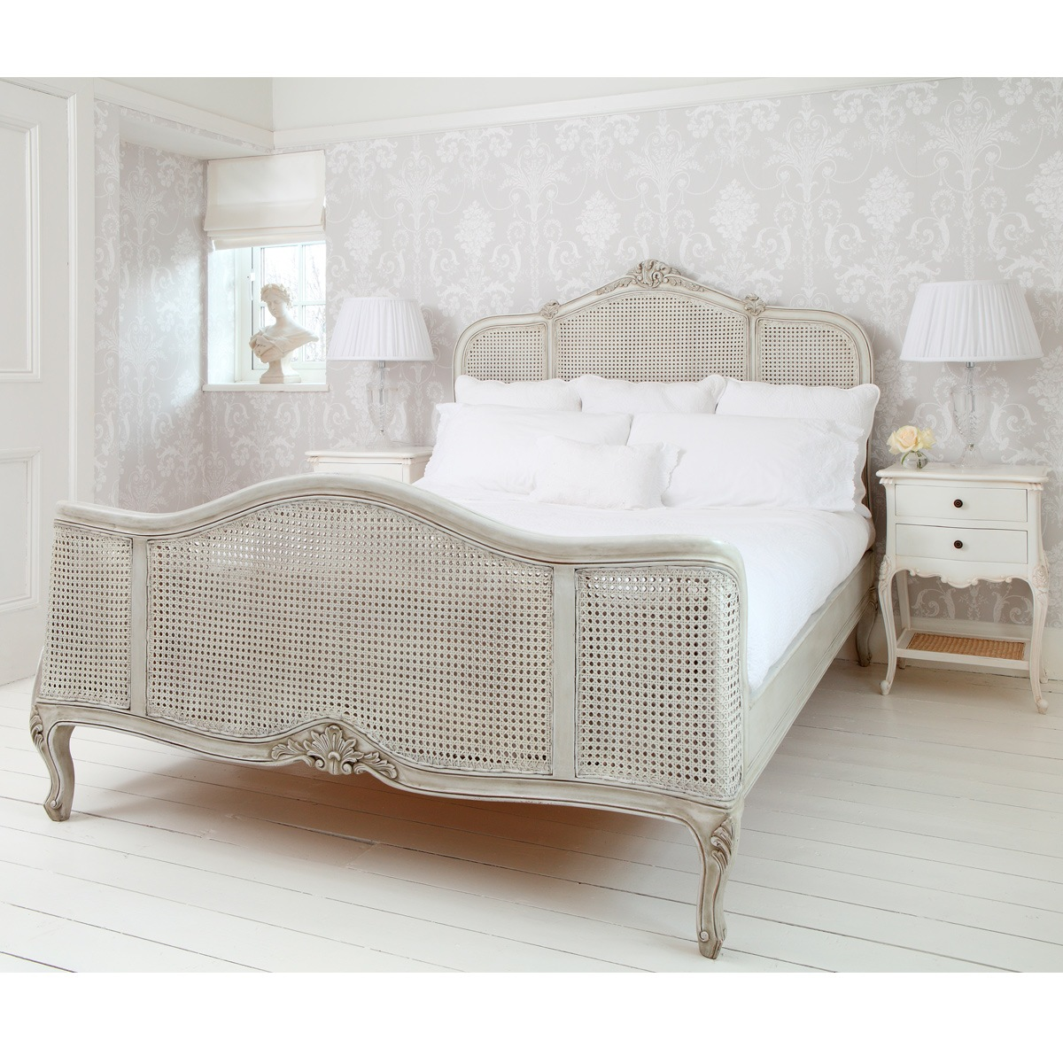 french grey painted rattan bed french bedroom company