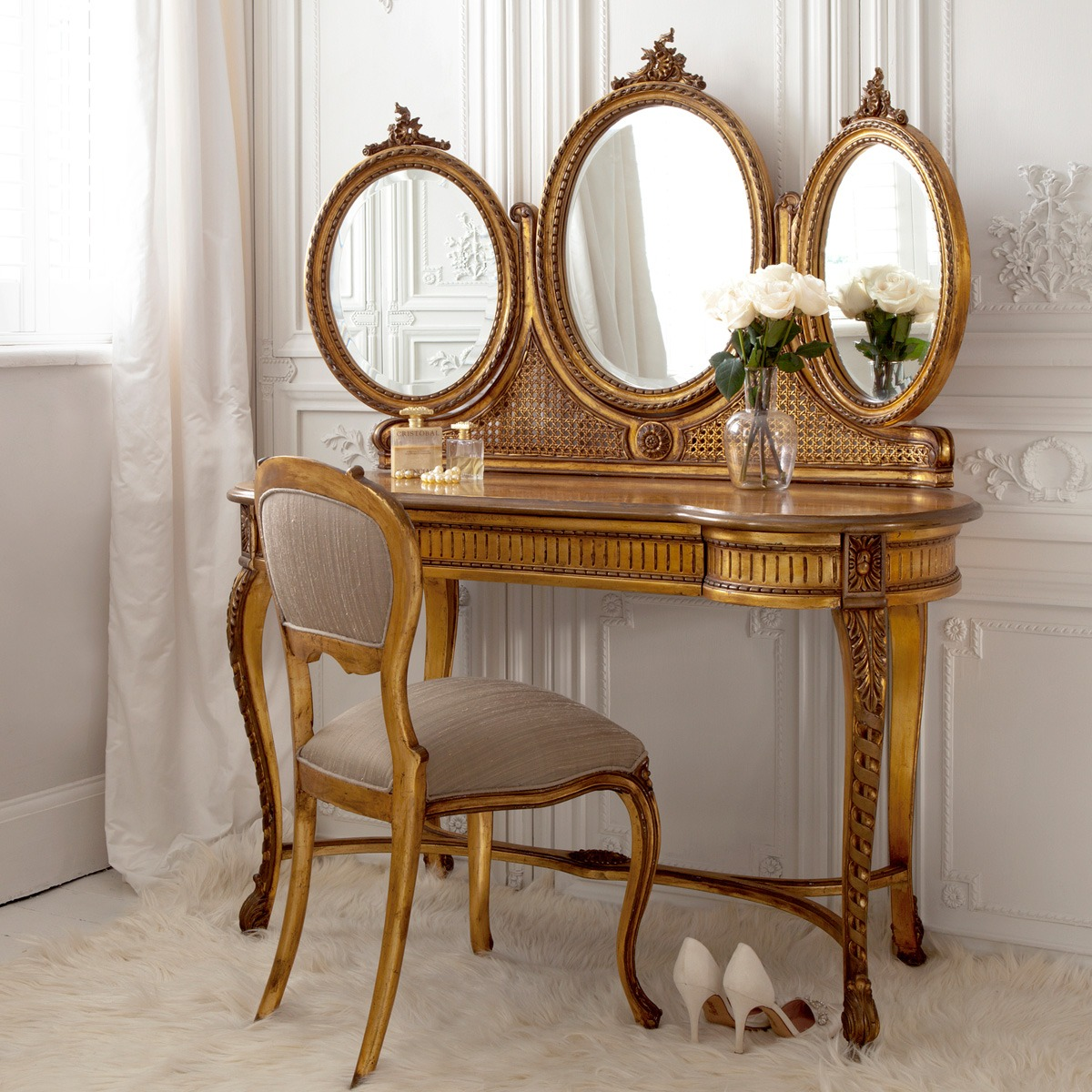 Versailles gold dressing table french bedroom company for Table dressing