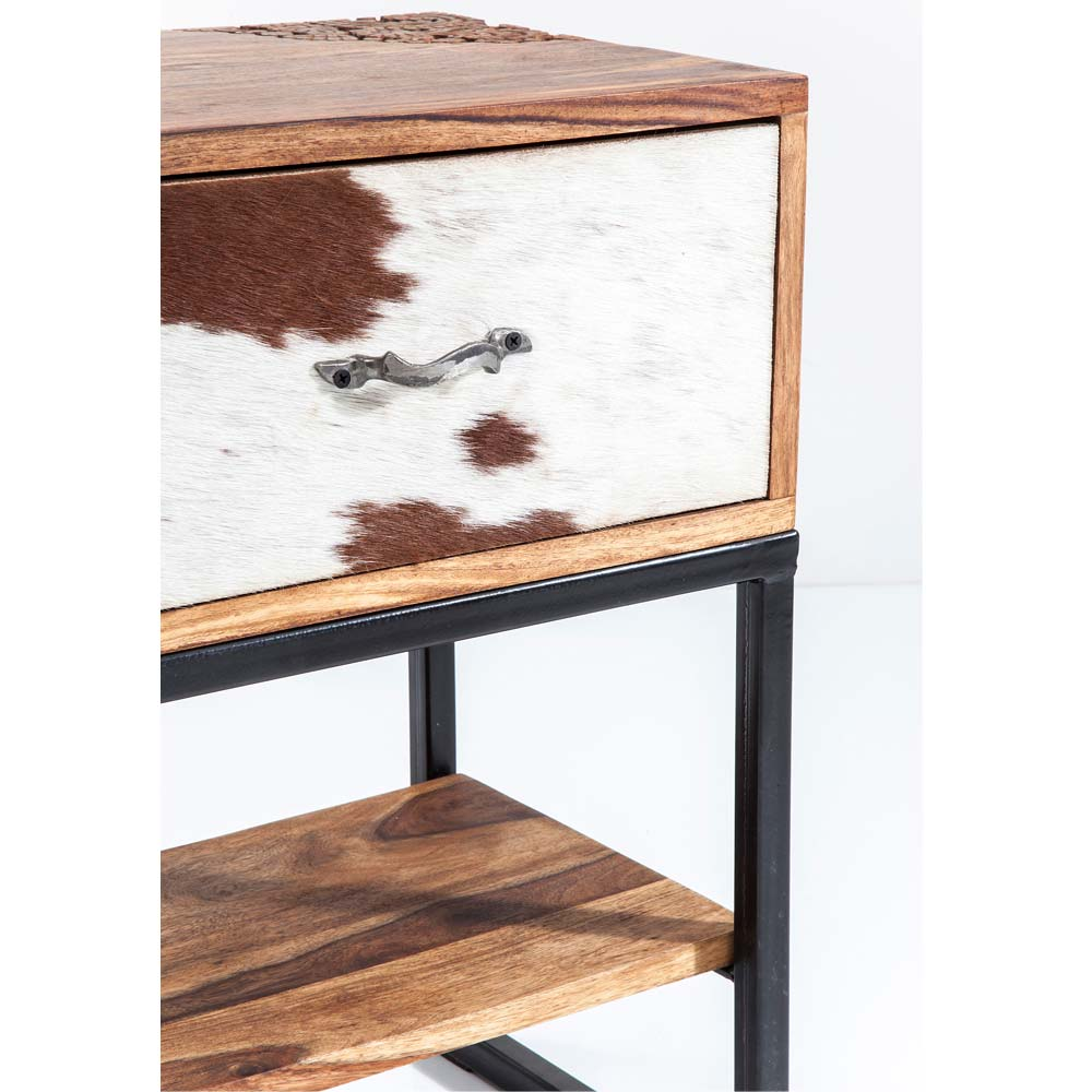 rodeo cowhide wooden side table french bedroom company
