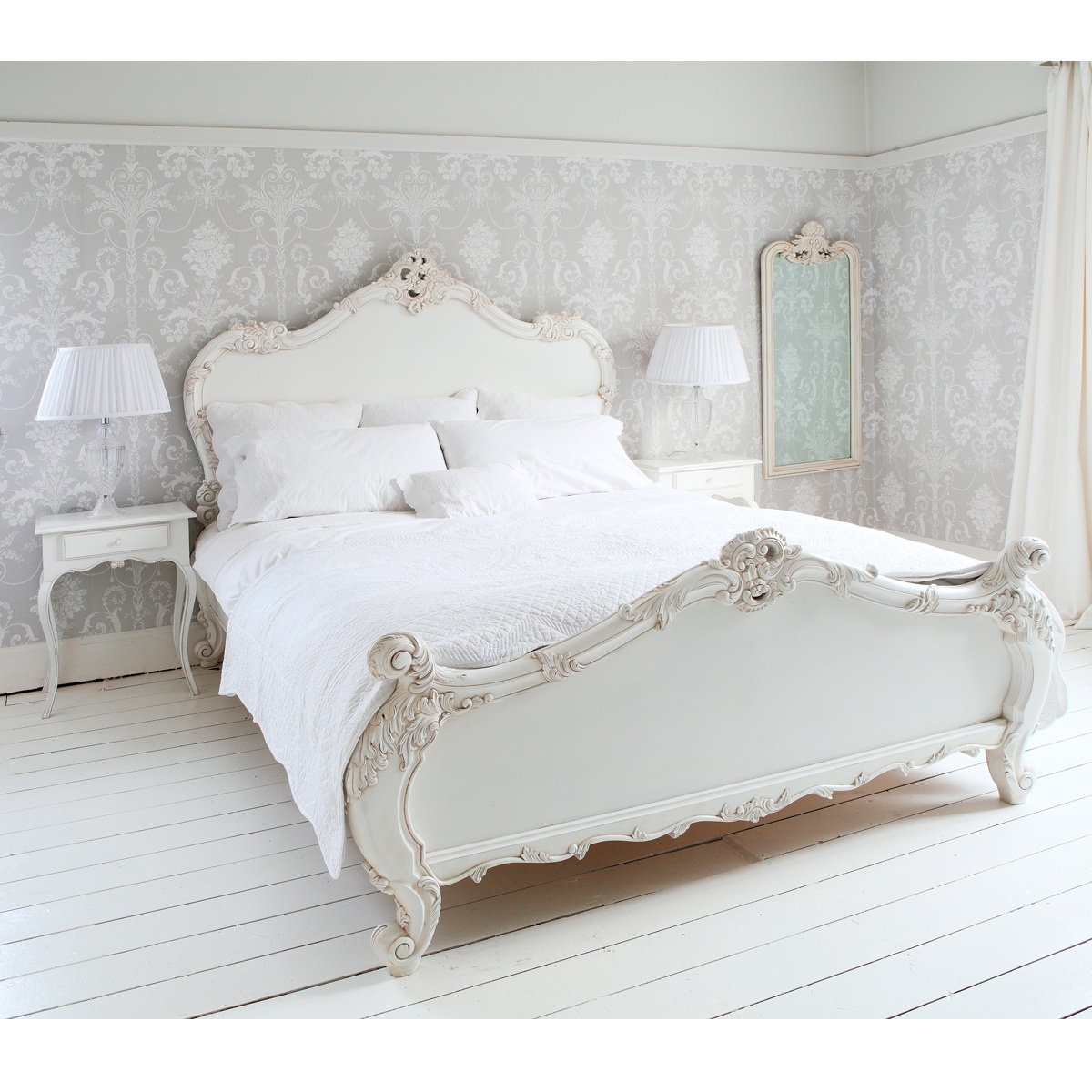 White Shabby Chic King Size Bed Frame