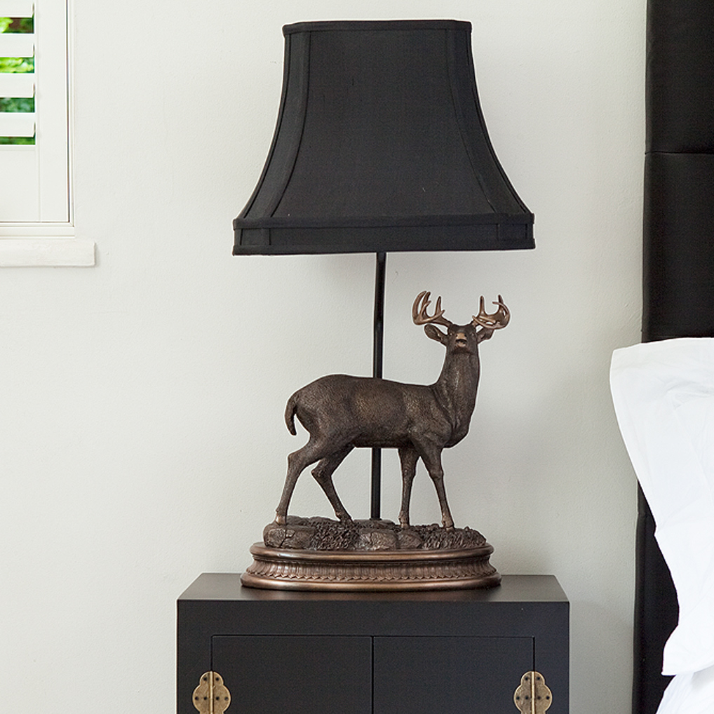 bronze figure stag elegant lamp french bedroom company