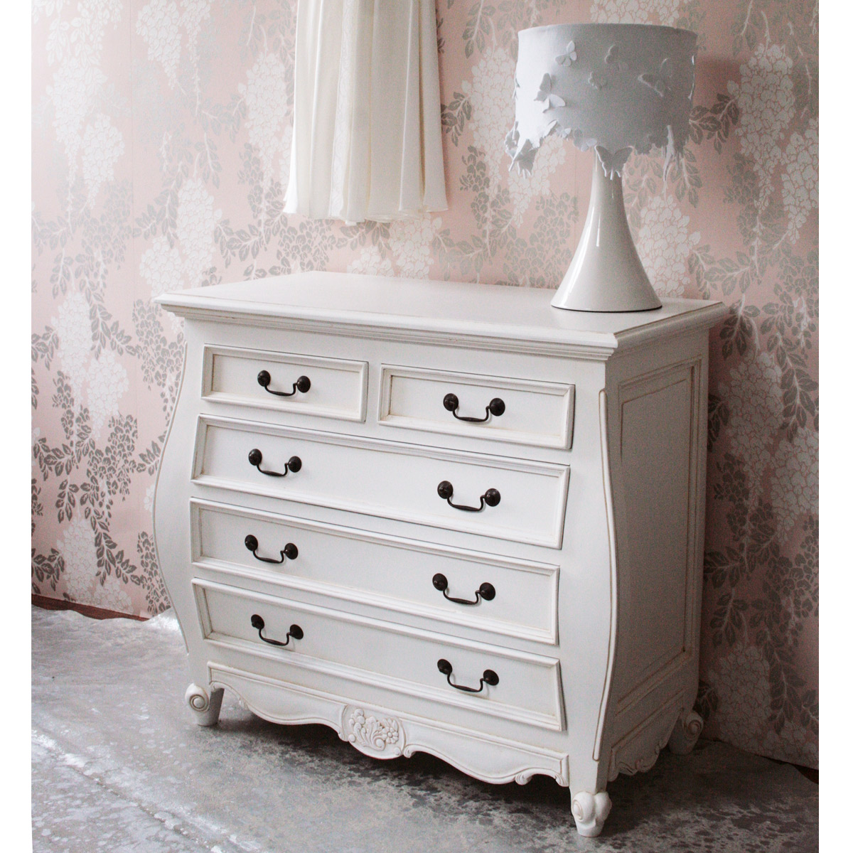 Provencal bombe white chest drawers french bedroom company for White bedroom chest of drawers