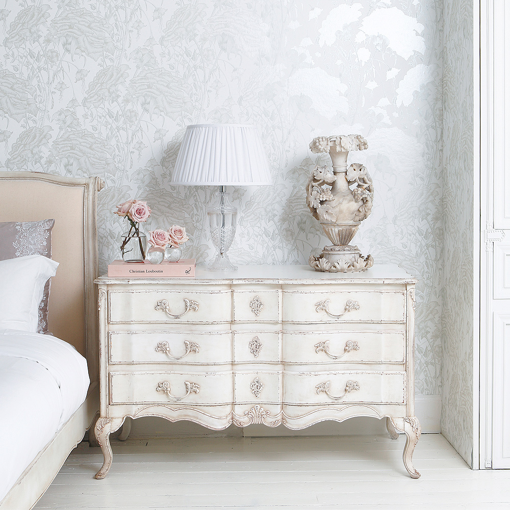 delphine white painted chest of drawers french bedroom. Black Bedroom Furniture Sets. Home Design Ideas