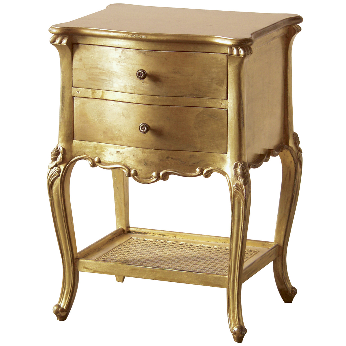 Versailles gold drawer bedside table french bedroom company - Table chevet baroque ...