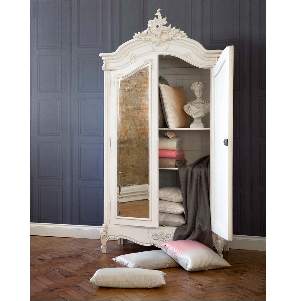 provencal white 2 door mirrored armoire french bedroom. Black Bedroom Furniture Sets. Home Design Ideas