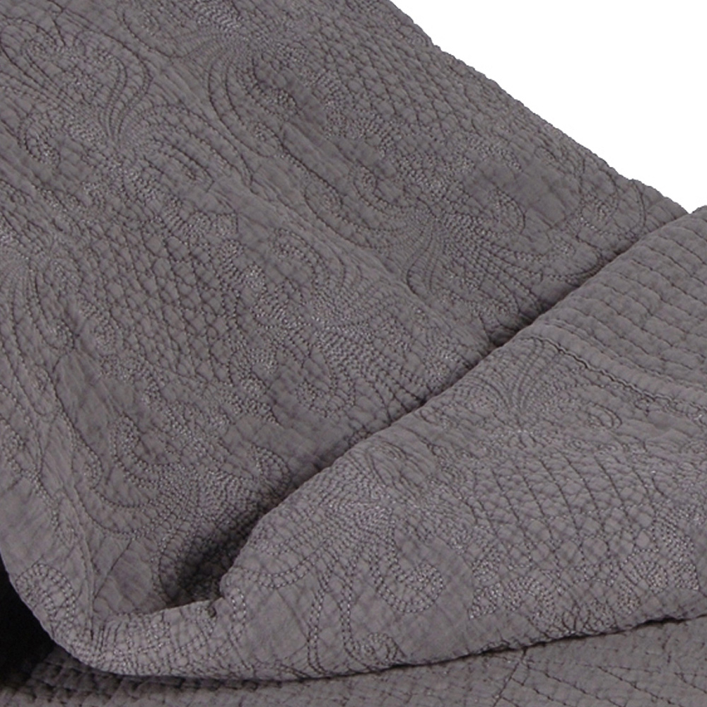 Colette Charcoal Quilted Grey Bedspread French Bedroom