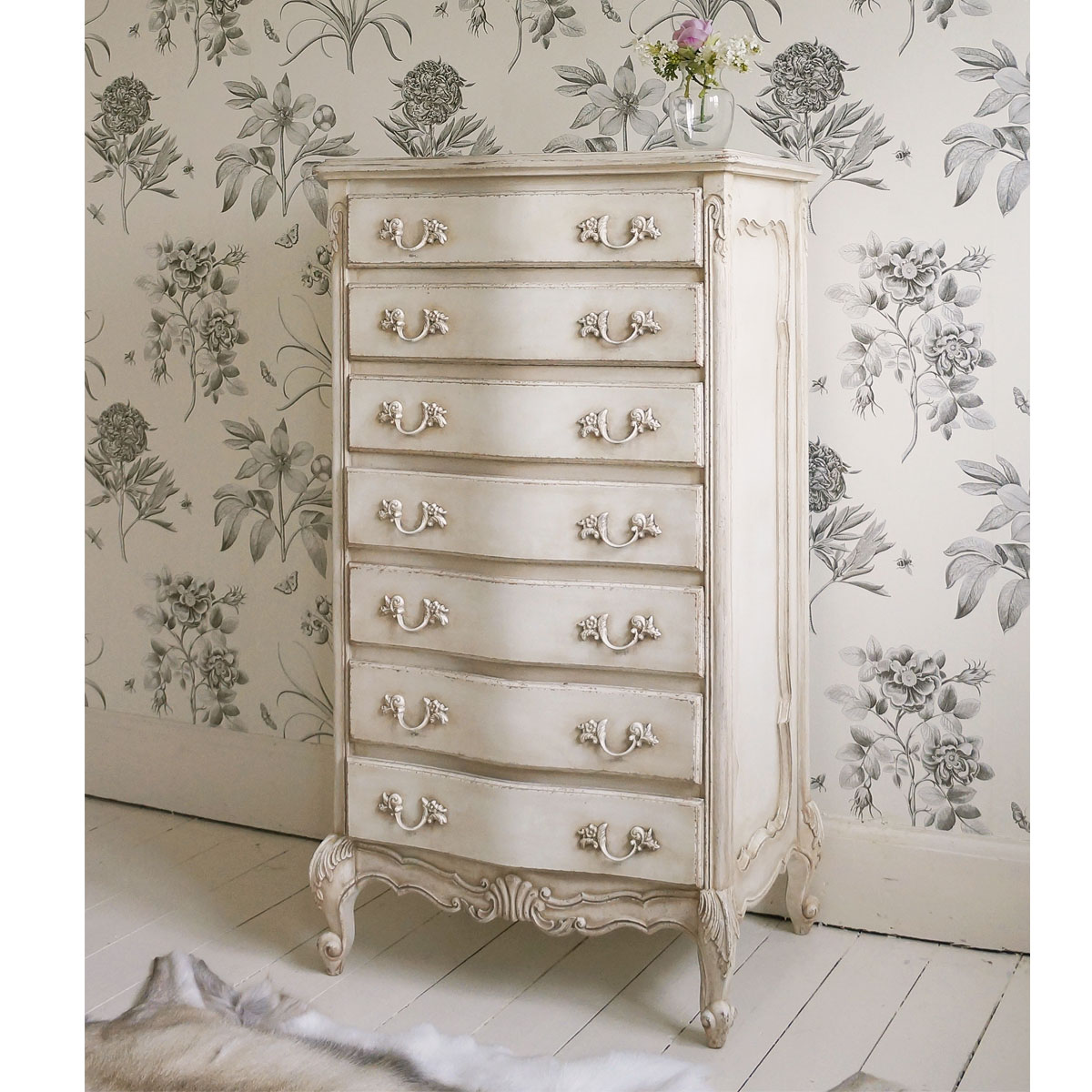 Delphine shabby chic antique white tallboy french for Furniture in french