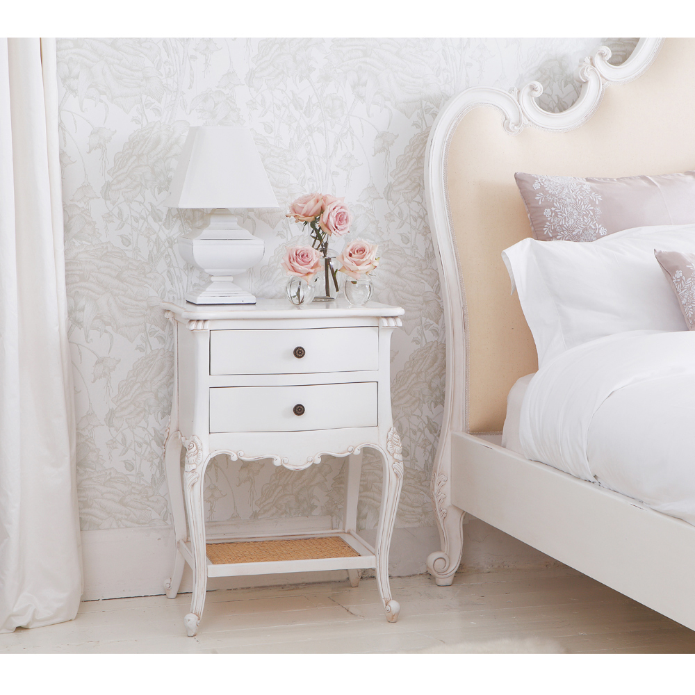 Provencal 2 drawer bedside table french bedroom company for Tableaux shabby chic