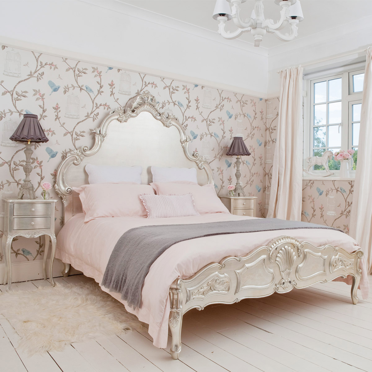 Sylvia Silver Leaf French Bed French Bedroom Company