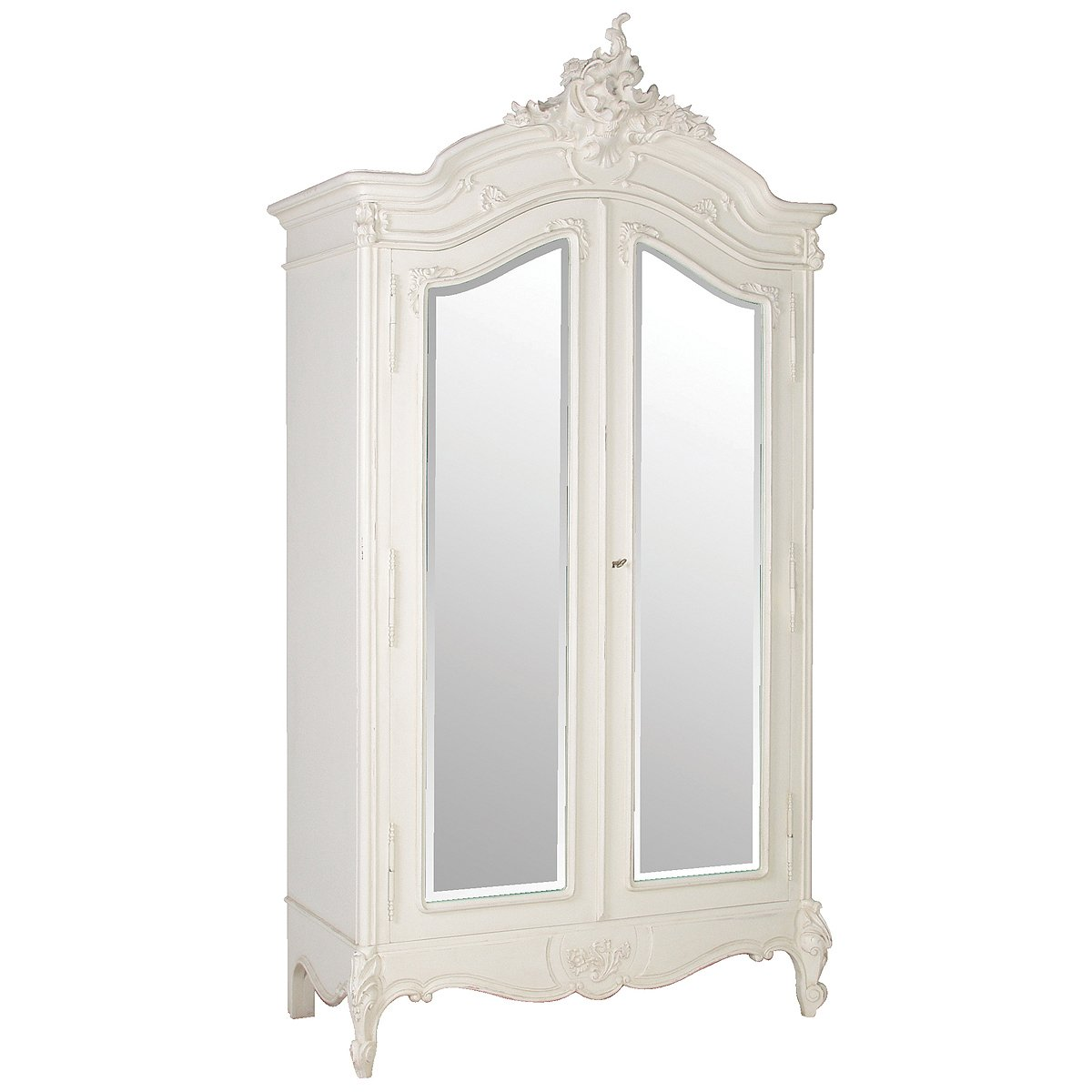 Provencal White 2-Door Mirrored Armoire, French Bedroom ...