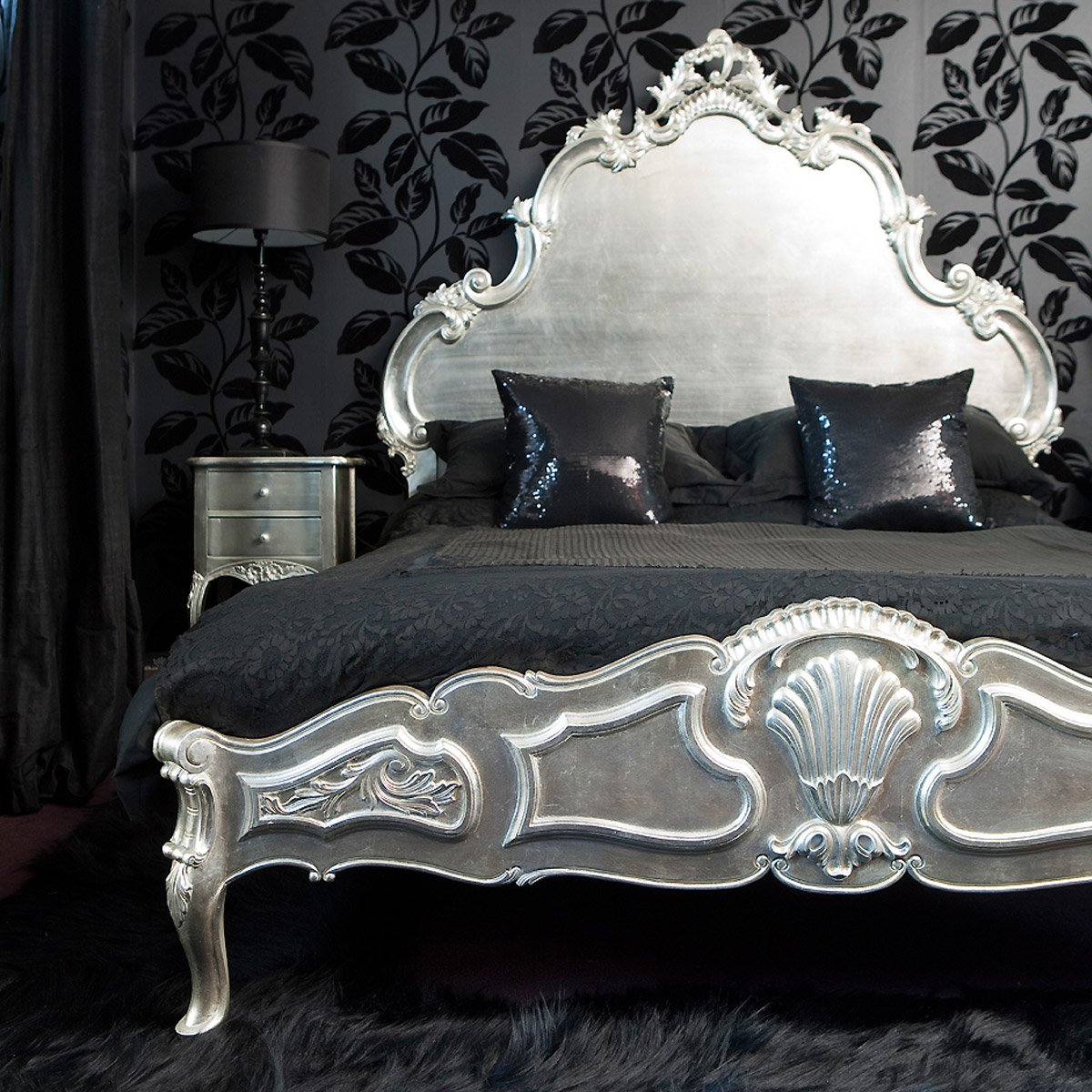 Sylvia silver leaf french bed french bedroom company - Black and silver lounge design ...