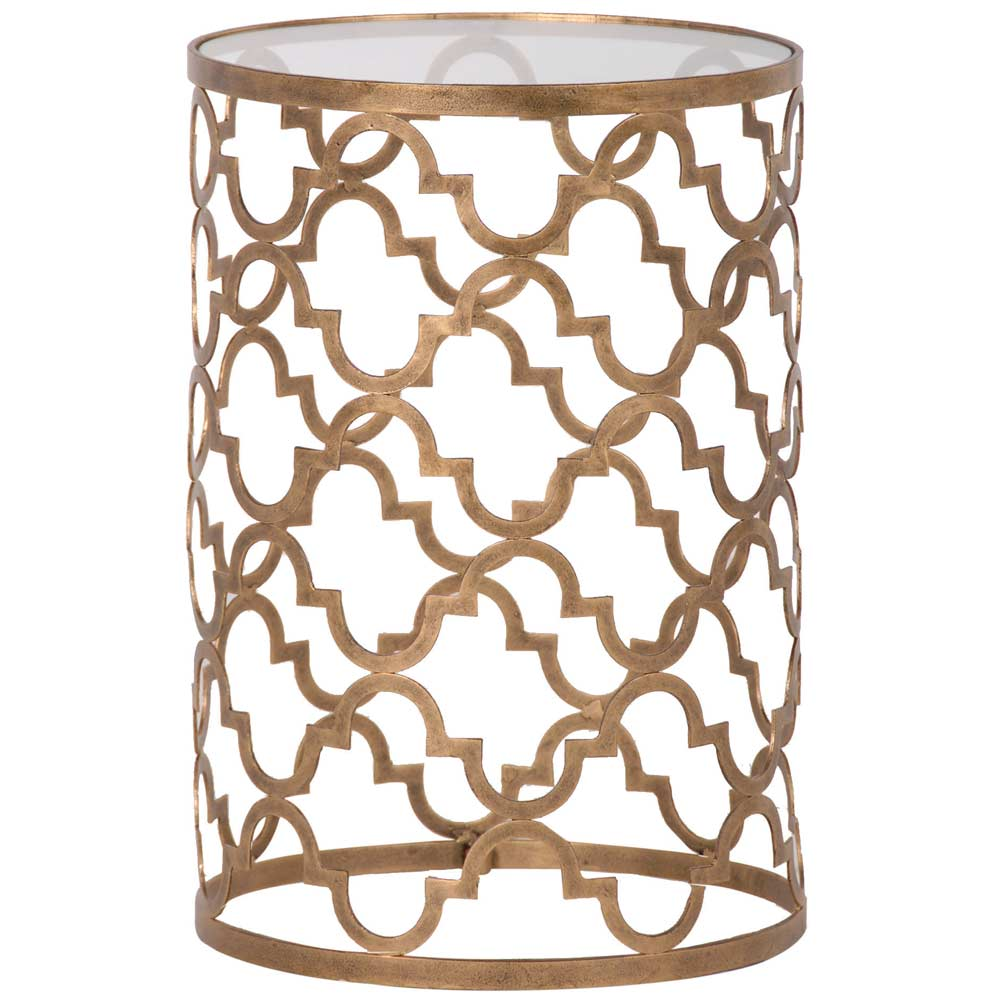 Quatrefoil Gold And Glass Side Table French Bedroom Company