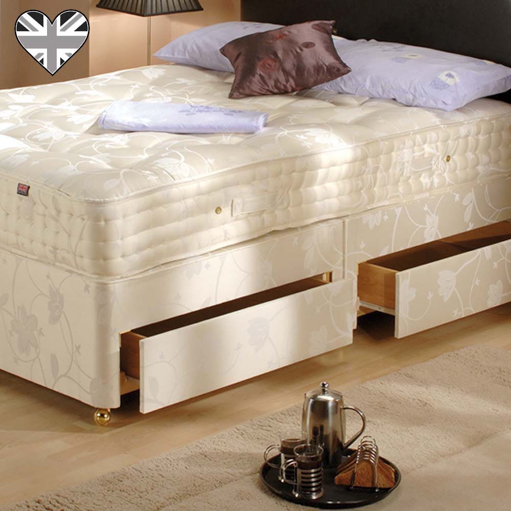 Firm edge damask divan with drawers french bedroom company for Firm divan beds