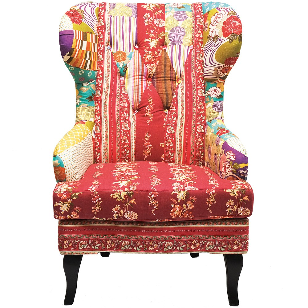 Romany Patchwork Wingback Armchair French Bedroom Company