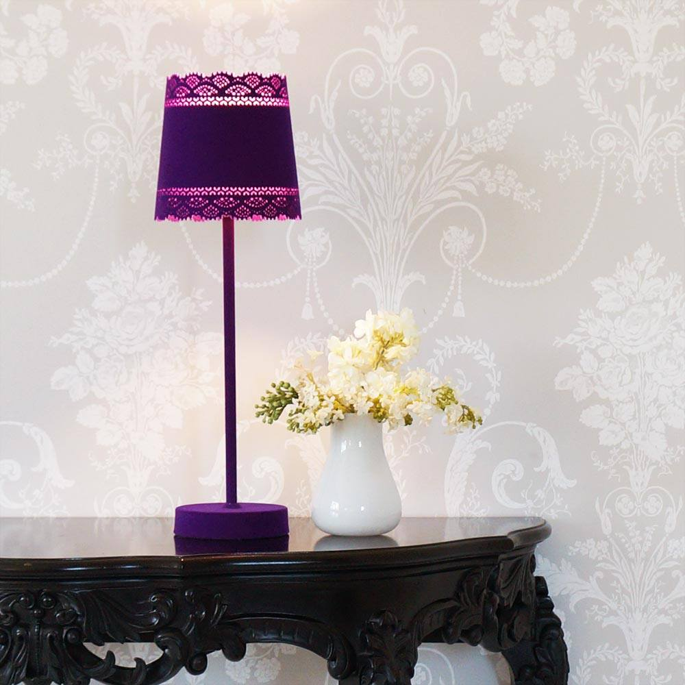 little lacey purple flocked table lamp french bedroom company