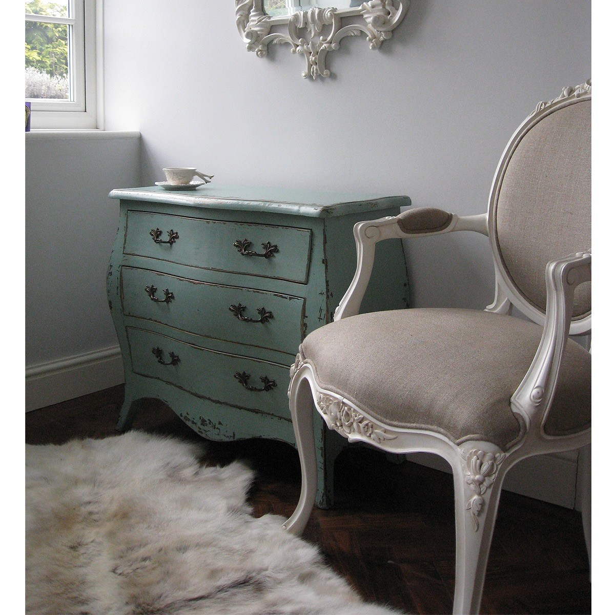 Provencal Linen Lady White Armchair, French Bedroom Company