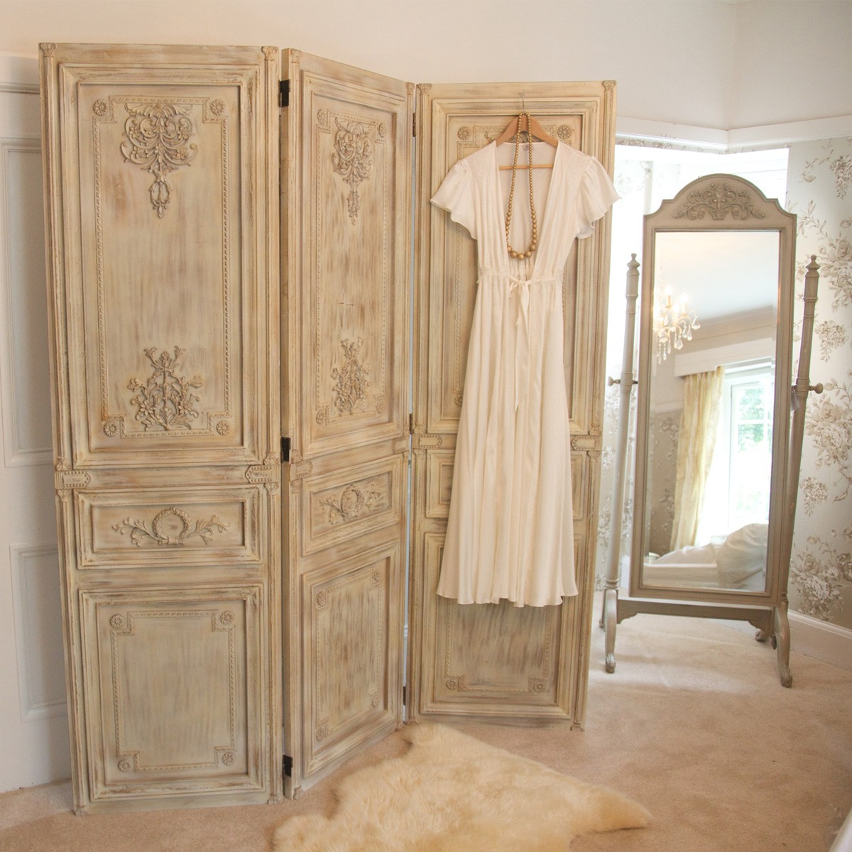 Limed Wooden Dressing Screen French Bedroom Company