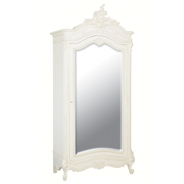 Provencal Mirror Fronted White Armoire