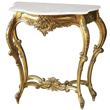 Versailles Gold Shabby Chic Console Table (small) by The French Bedroom Company