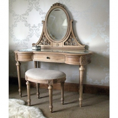Antoinette Oak French Dressing Table by The French Bedroom Company