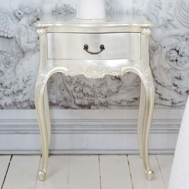 Sylvia Silver Single Drawer Bedside Table by The French Bedroom Company