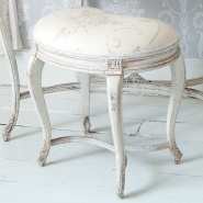 Delphine Distressed Painted Stool