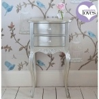 Sylvia Silver Two Drawer Bedside Table