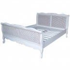 Lutetia Antique White Rattan French Bed