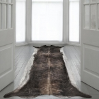 Superlong Stretched Cowhide Rug, Natural Browns