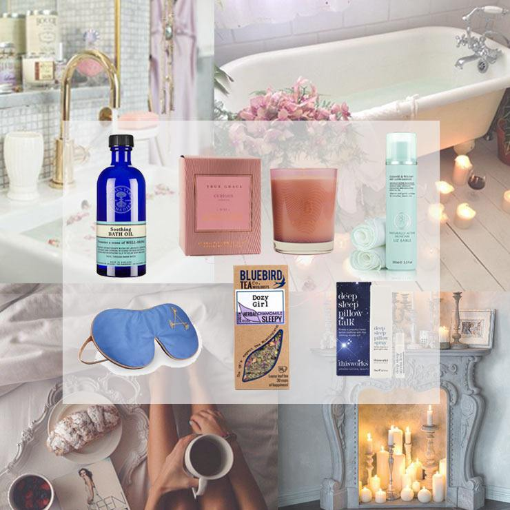 The French Bedroom Company Blog, Sleep Edit, the girls give tips on how to get a good nights sleep. including their favourite reads and their bedtime routine. Neals Yard, True Grace Cadle, Liz Earke Hot cloth cleanser, aromatherapy associates sleep mask and deep sleep pillow spray, dozy girl bluebird tea company tea bags.