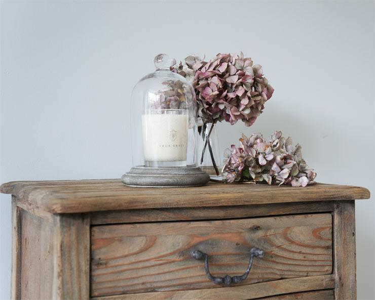 The French Bedroom Company Blog, Preparing For Guests this Christmas. True Grace Candle on a french bedside table