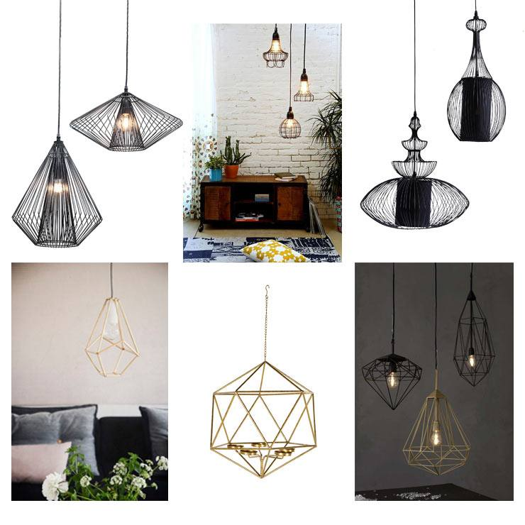 Enlightening Lighting Blog , geometric cage lighting pendants modern metal black and gold