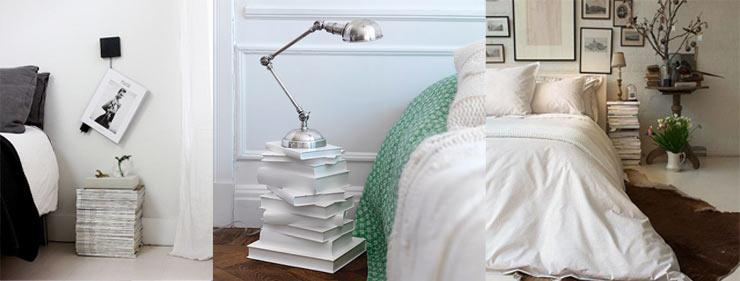 Bedside Story - Inventive Ways with bedside tables - stack of magazines and books for your nightstand
