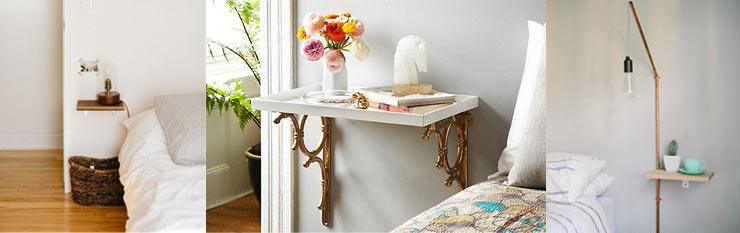 Bedside Story - Inventive Ways with bedside tables - Shelves, shelf, shelving