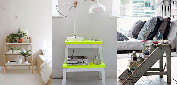 Bedside Story - Inventive Ways with bedside tables - Ladder, step ladder as your nightstand