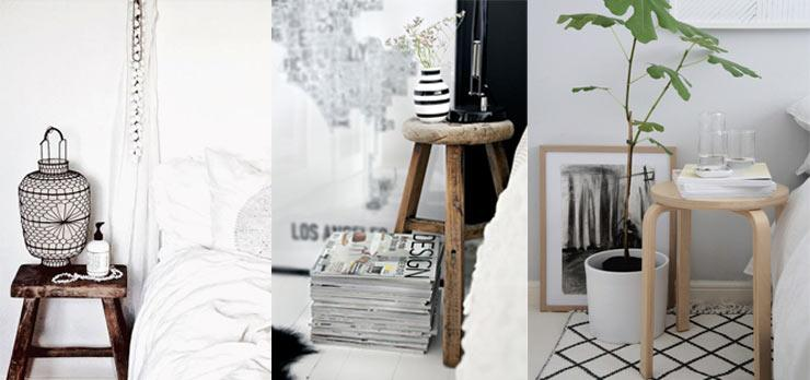 Bedside Story - Inventive Ways with bedside tables - small bedroom stool, dressing table stool