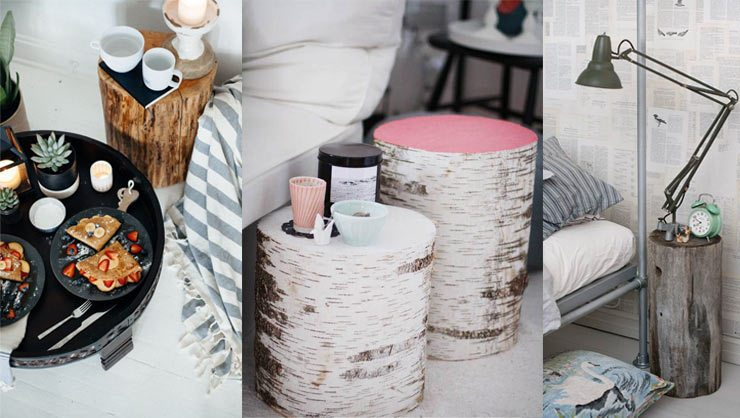 Bedside Story - Inventive Ways with bedside tables - wooden tree trunk nightstand