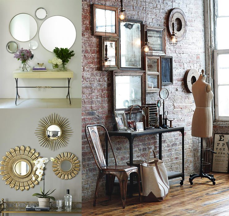 Group of wall hung mirrors in eclectic, boho, modern, retro and contemporary settings