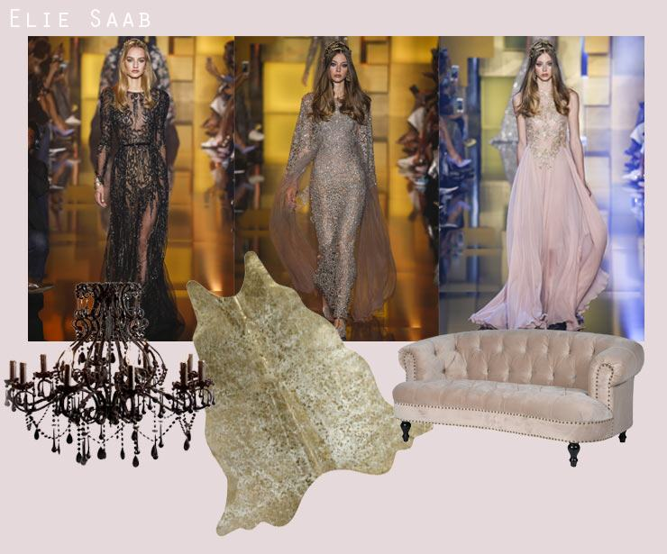 Paris Haute Couture Week Blog,  elie saab dresses fashion, chandelier, cowhide & chablis & roses velvet sofa