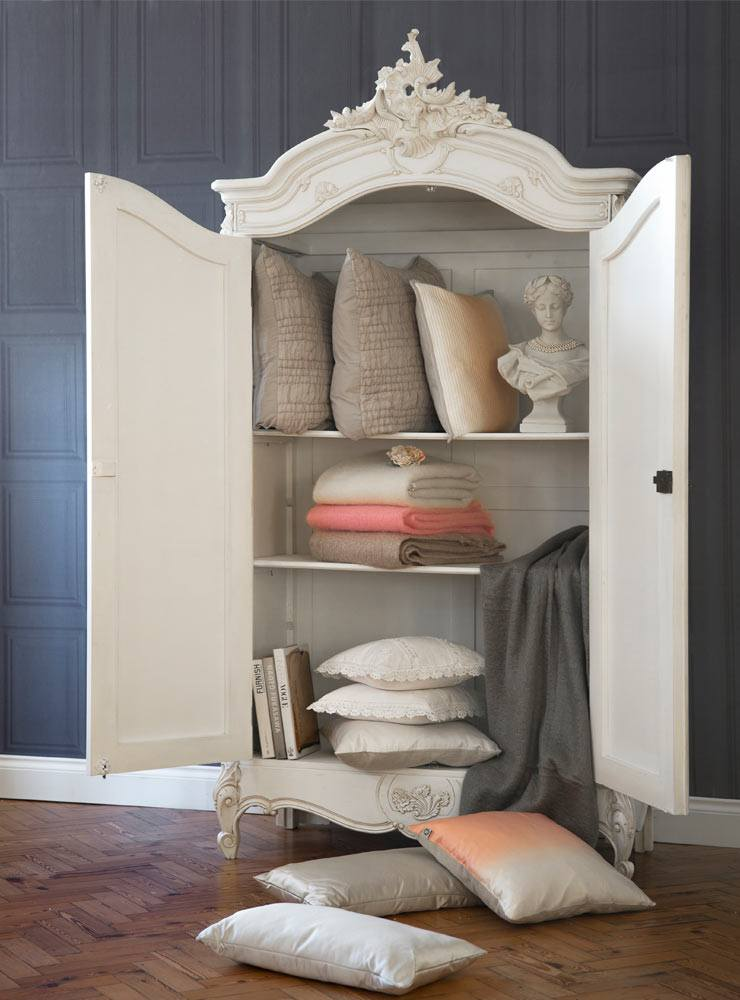The French Bedroom Company Blog, How to Keep your bed fresh. Luxurious white painted french armoire with cushions and throws