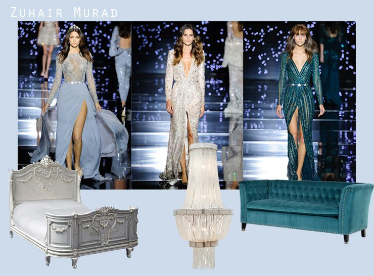 Paris Haute Couture Week Blog, Zuhair  Murad, bonaparte bed, chandelier & nightingale sofa