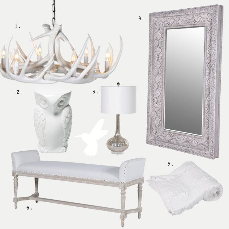 Blanc Canvas Blog about whites, chandelier, mirror, wise owl stool, lamp, bench and throw