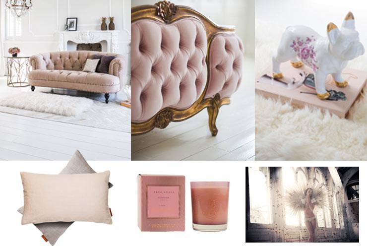 The French Bedroom Company Blog, Coming Up Roses: Tips on getting the colour du jour, Blush Pink, into your home interior. Featuring our very own pink and gold velvet bed, pink velvet sofa and more pink accessories.