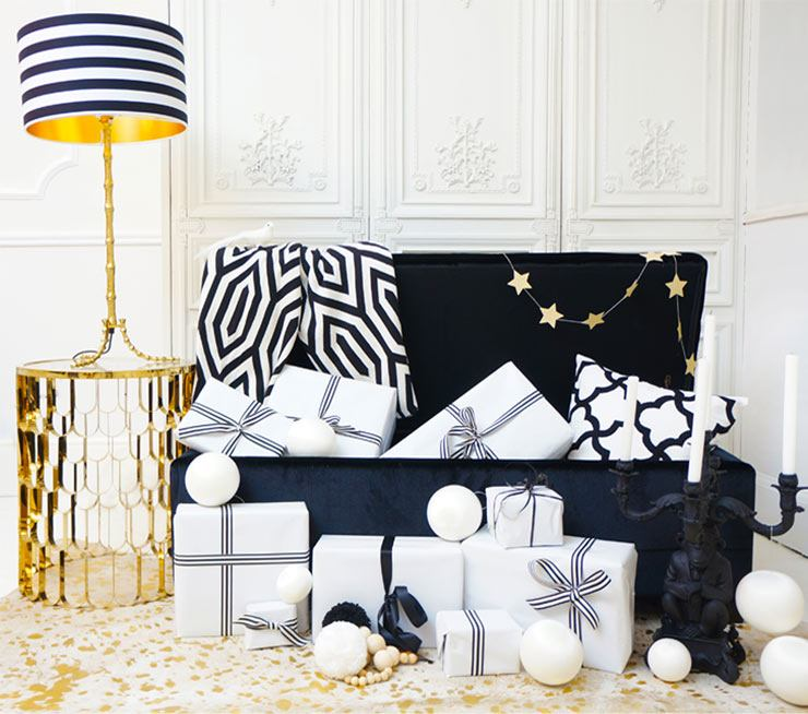 The French Bedroom Company Blog Neon Christmas Trunk styled by The FBC monochrome christmas with gold, hedonist ottoman, geometric throw, monkey candelabra, deco decadence sidetable, colonial table lamp with circus frankieloves shade