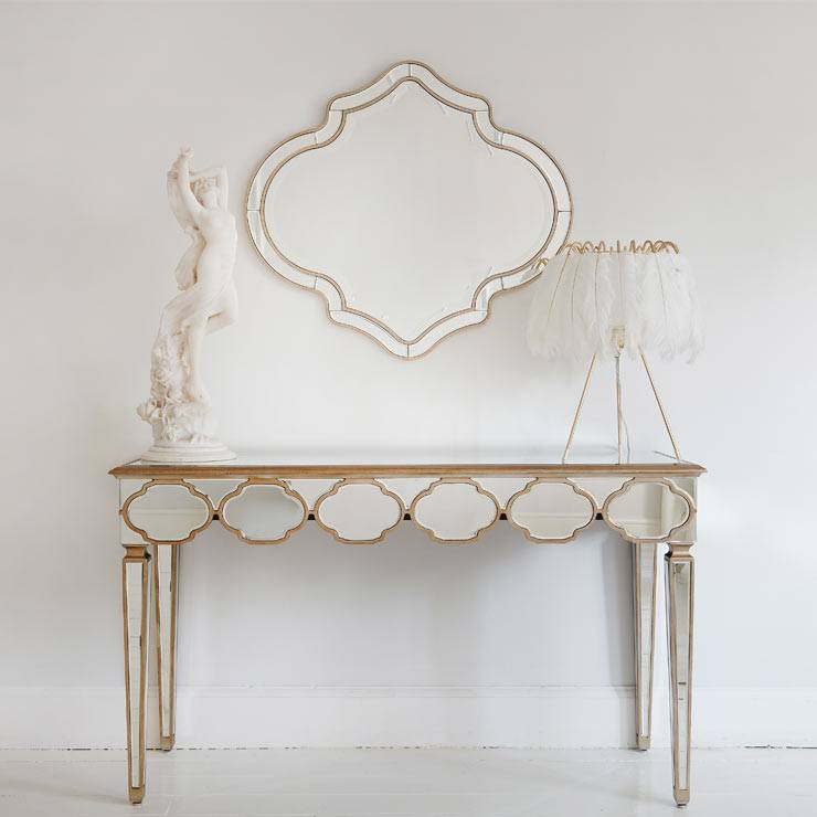 The French Bedroom Company Blog, Perfect Pairs: get The Look with console table and mirror pairings for your hallway and lounge making a striking first impression for your interior. Mirrored console table and Moroccan style mirror
