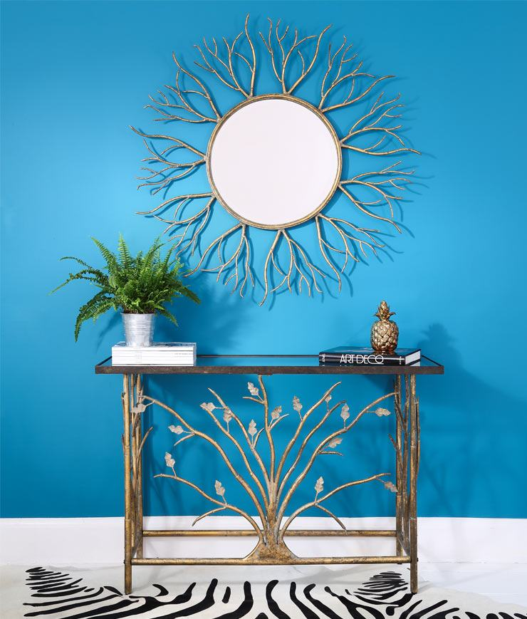 The French Bedroom Company Blog, Perfect Pairs: get The Look with console table and mirror pairings for your hallway and lounge making a striking first impression for your interior. Turquoise painted walls with gold Branching out console table and wall mirror with golden pineapple. Modern contemporary style