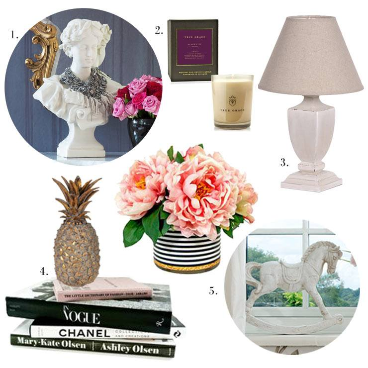 The French Bedroom Company Blog, Perfect Pairs: Get The Look, console tables and their perfect mirrors for your hallway or lounge. Accessories including candle, chanel books, gold pineapple, miniature rocking horse, Diana bust and white painted urn table lamp