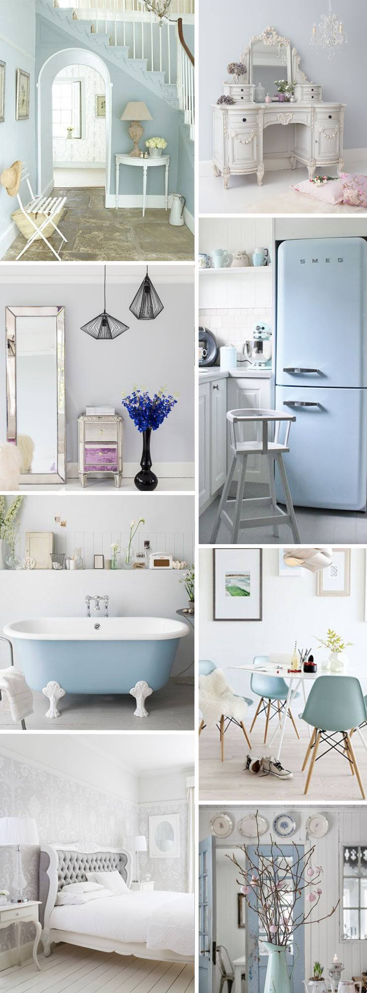 The French Bedroom Company Blog, Get the look: Pale blue and grey. Pastel blue from Pantone's Colour of the year 2016 Serene interiors and fashion inspiration.